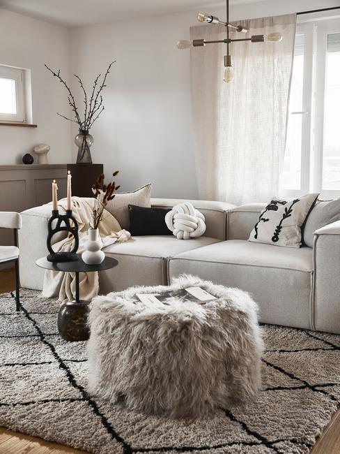 Grijze harige poef voor Lennon sofa