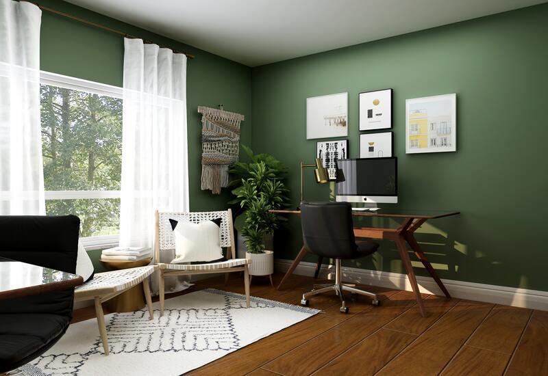Thuiswerk plek inrichten in woonkamer met groende wand