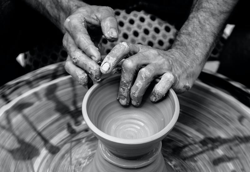 potten maken op draaischijf