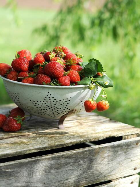 rood fruit in vergiet op een houten buitentafel