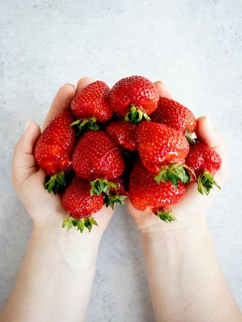 twee handen houden rood fruit vast