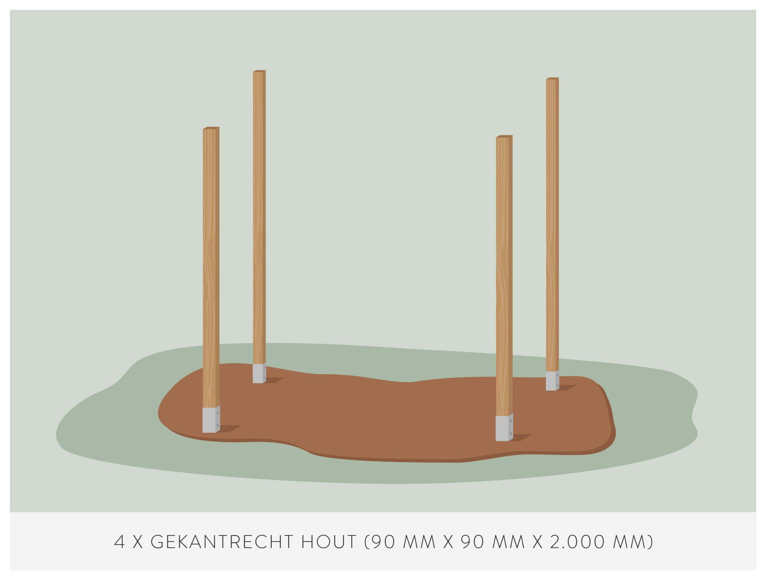 stap 2: zet de basispijlers in elkaar voor het bouwen van een kas