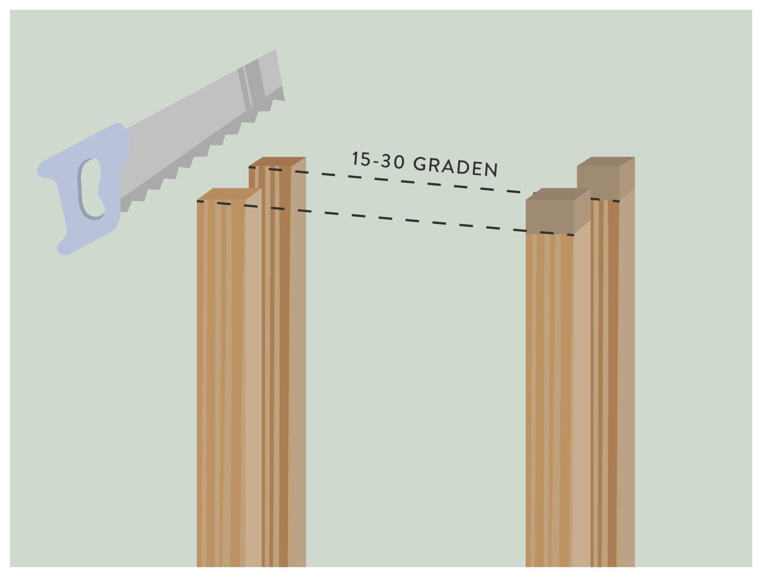 stap 3: afschuinen van de staanders voor het bouwen van een kas
