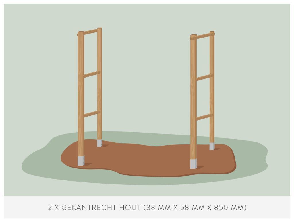 stap 5: bevestiging bovenste zijlatten voor het maken van een kweekkas