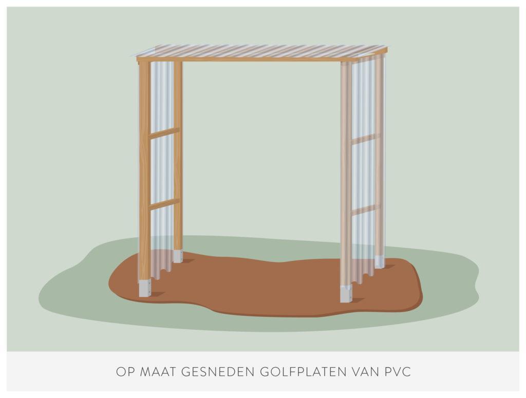 stap 7: zaag de PVC panelen voor het maken van een kweekkas