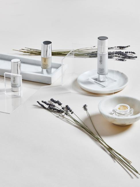 witte marmere schotels met producten