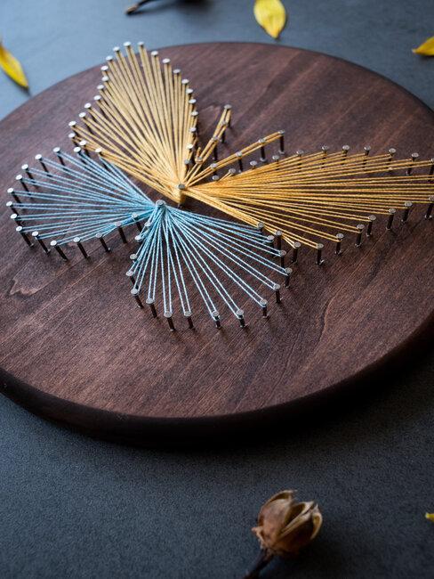 string art vlinder kunstwerk