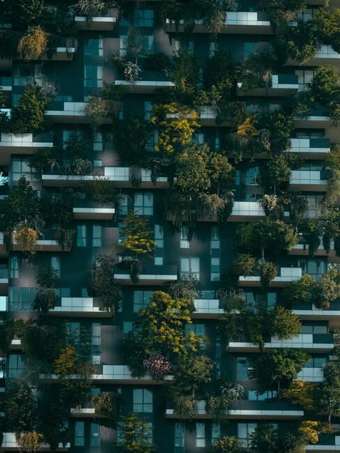 meerdere glaze balkons met planten