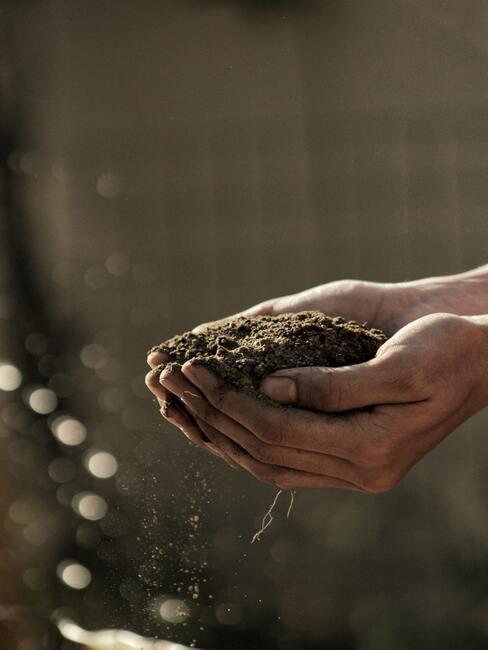 handen die aarde vasthouden