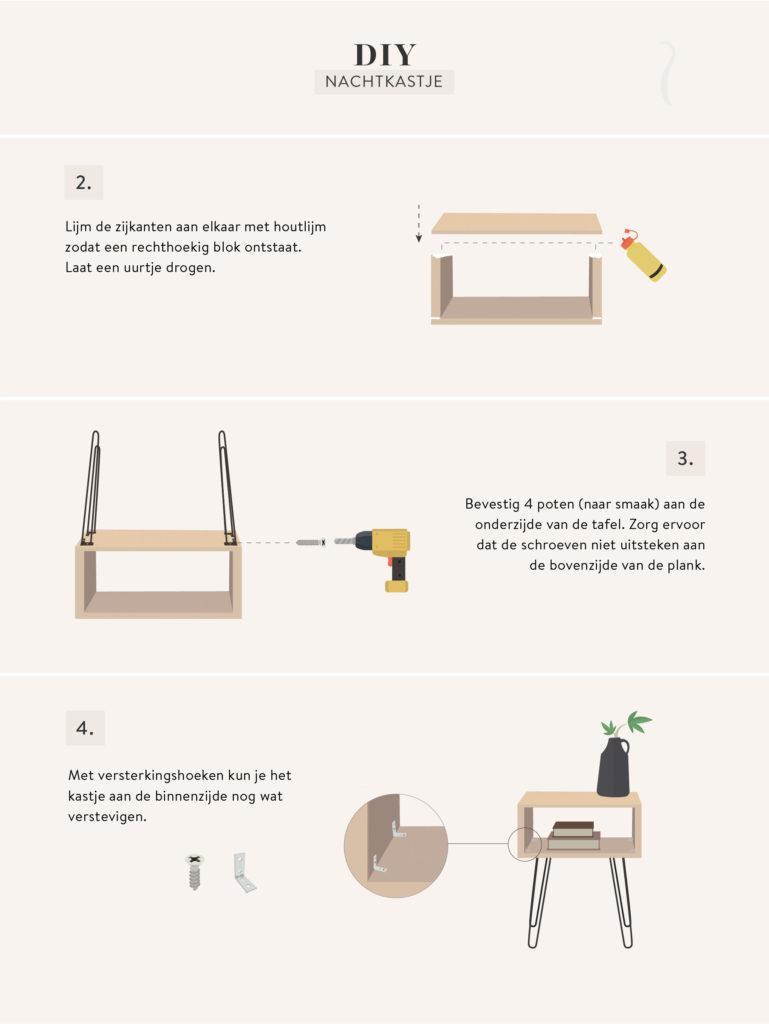 zelf nachtkastje maken DIY graphic