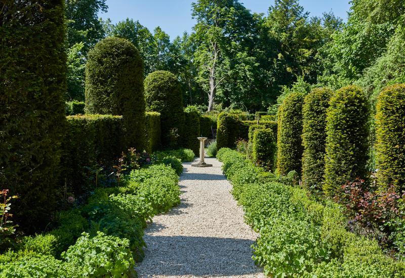 groene tuin met grind