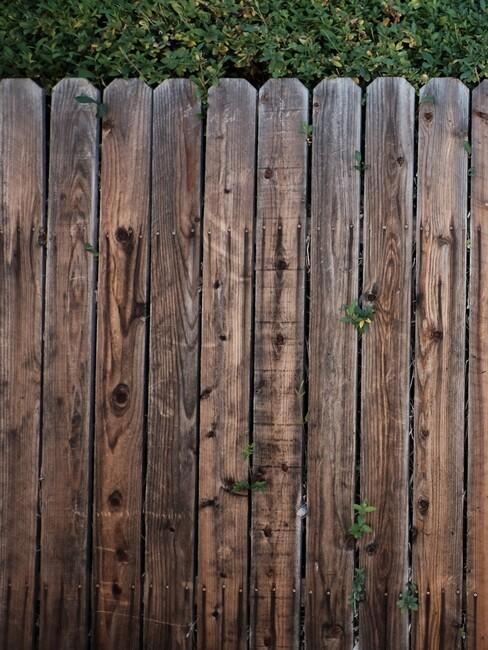 houten schutting met verticale planken