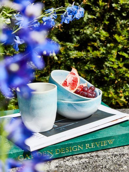 groen met blauw servies in een tuin