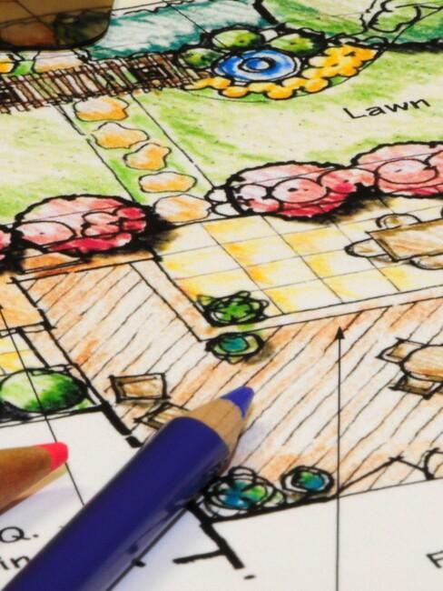 beplantingsplan met een blauw potlood