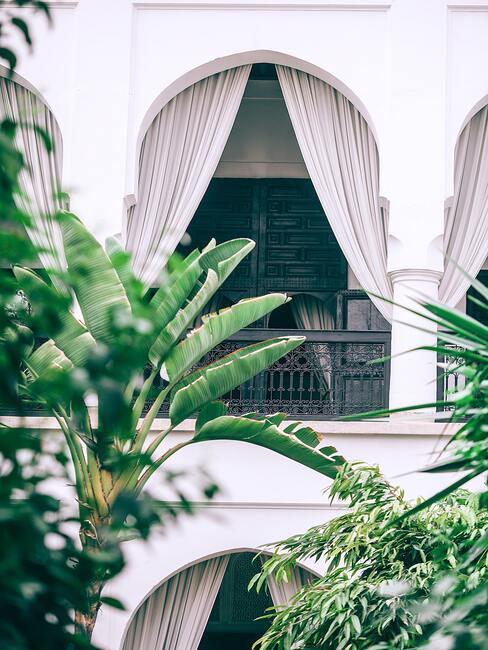 witte balkonnen met witte gordijnen en palmbomen