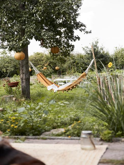 gele hangmat aan grote groene boom in een grote tuin