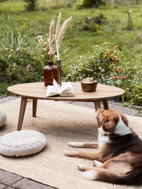 grijze tegels met houten tafel en rieten buitenkleed met hond
