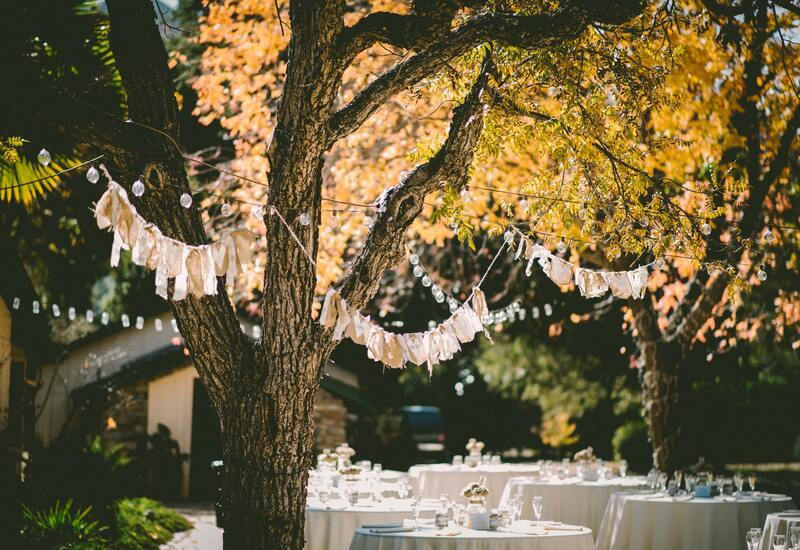 bruiloft diner in bohemian style