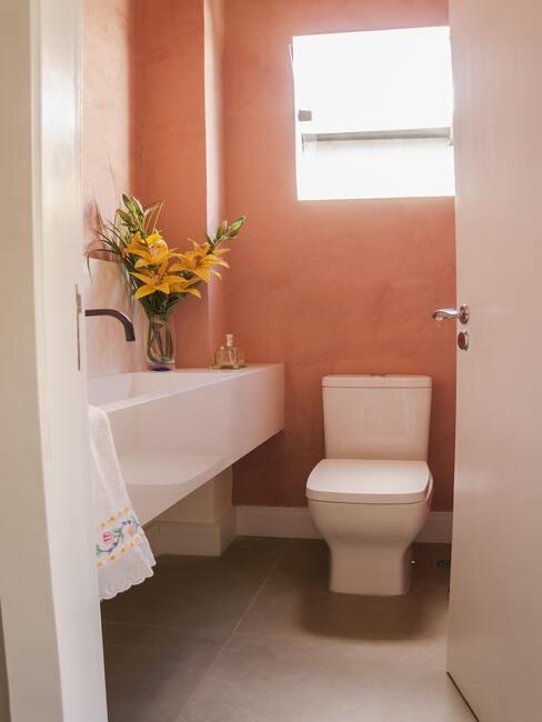 wit toilet met terracotta kleur muur