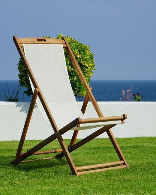 loungestoel in een tuin met kunstgras