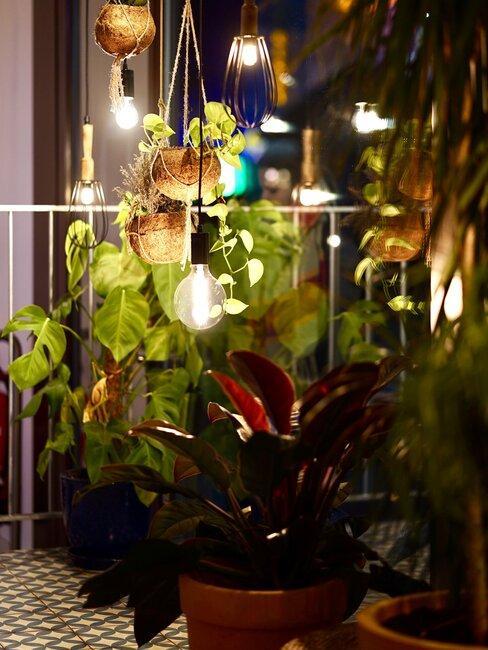 veranda met bloempotten en verlichting