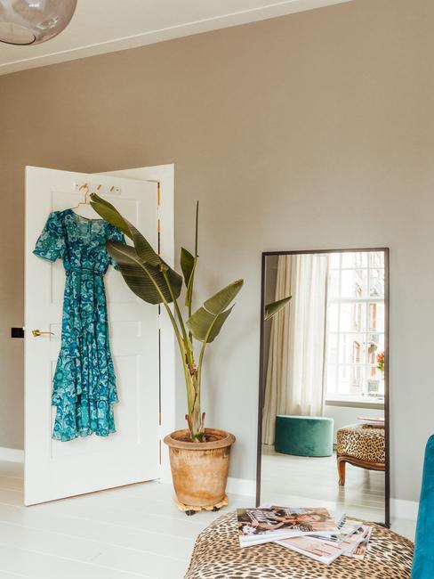 witte deur met een blauwe jurk en een plant in een rieten mand