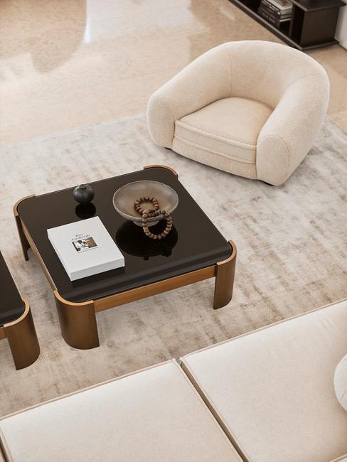 beige interieur met zwarte tafel