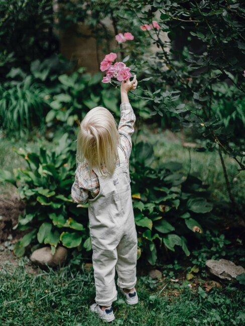 kind reikt naar bloem