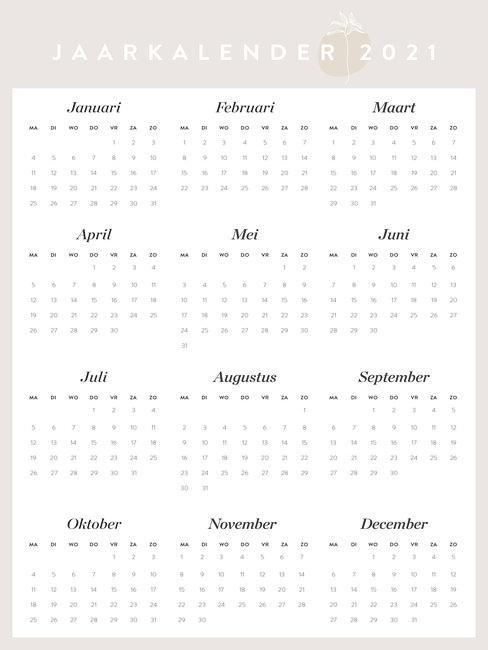 jaarkalender 2021