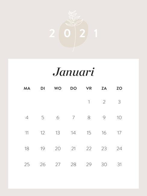 maandkalender januari 2021
