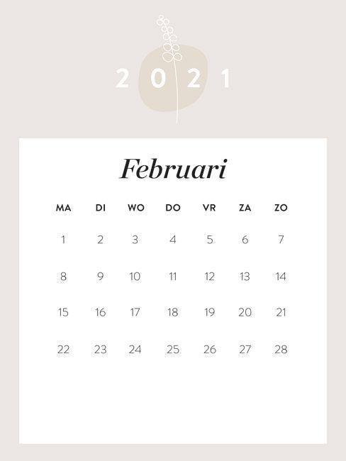 maandkalender februari 2021