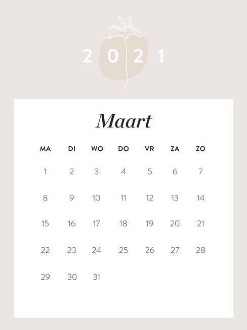 kalender maart 2021