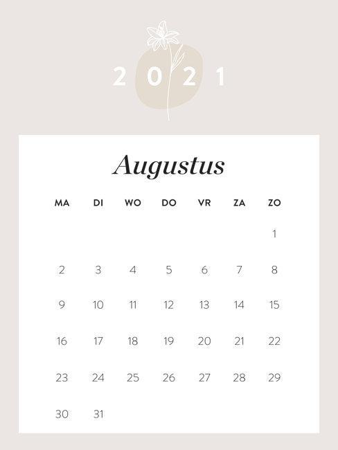 kalender augustus 2021