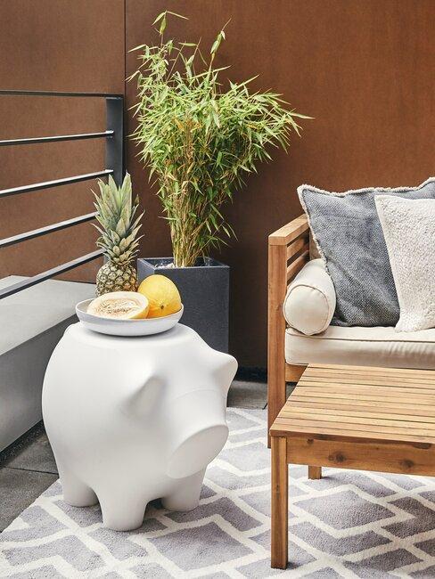 balkon met outdoorkleed en potplant