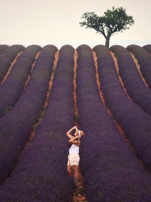 vrouw in een lavendelveld