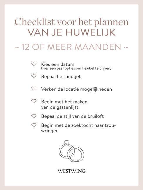 checklist bruiloft organiseren 12 maanden