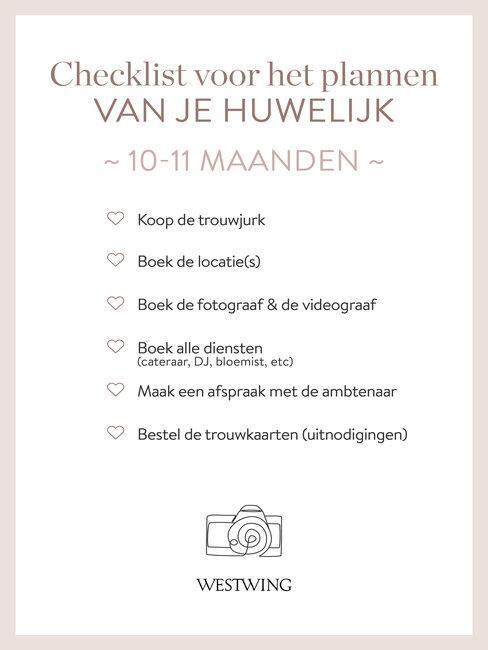 bruiloft organiseren checklist 10-11 maanden_