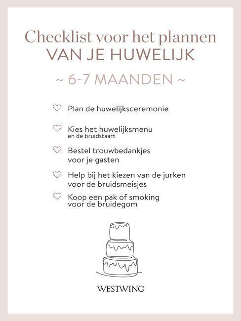 bruiloft organiseren checklist 6-7 maanden