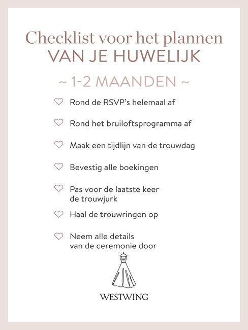 bruiloft organiseren checklist 1-2 maanden