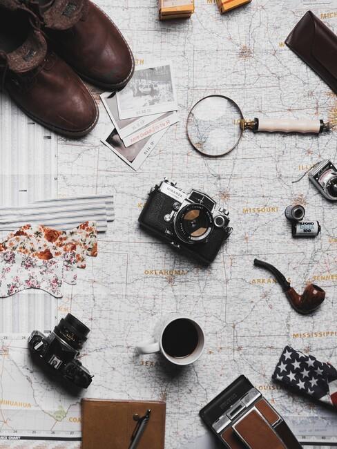 spullen op een kaart