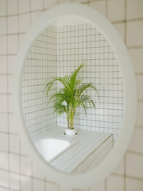 muur met witte tegels en spiegel