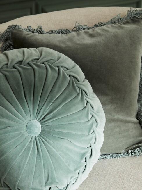 groene kussens voor een vintage look