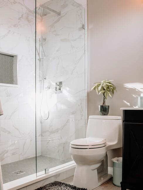 marmeren douche met roze muur