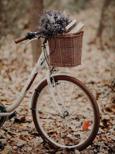 witte fiets met rieten mand en bloemen