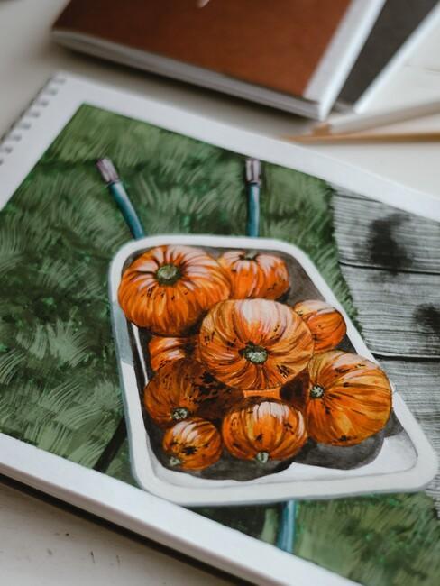 tekening met pompoenen