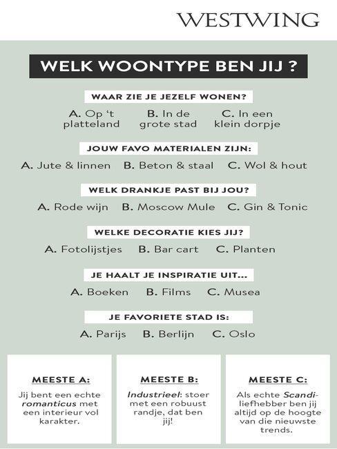 welk woontype ben jij?