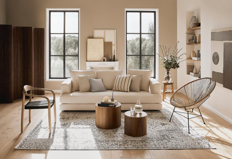 woonkamer in slow living stijl