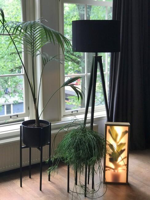 zwarte lamp met zwarte plantenbakken