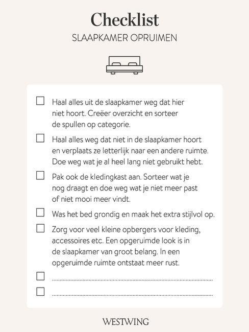 slaapkamer opruimen checklist