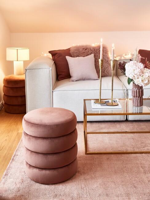 luxe roze woonkamer